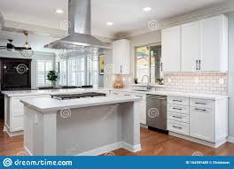white shaker kitchen cabinets wood floors modern kitchen with white shaker cabinets editorial stock