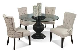 5 piece contemporary round glass table and upholstered chairs set