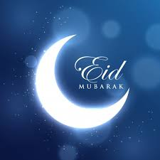 glowing crescent moon for the eid mubarak festival on blue