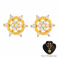 beautiful gold earrings images 22kt 916 beautiful gold earrings india