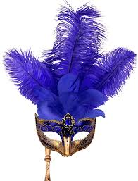 feather mask held blue and gold venetian feather mask