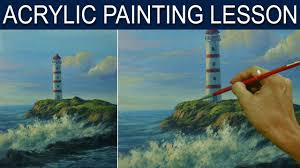 acrylic landscape painting tutorial lighthouse and crashing waves by jm lisondra