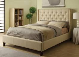 Low Bed Ideas Wingback Upholstered King Bed Style Wingback Upholstered King