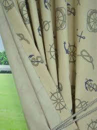 Nautical Curtain Fabric Eos Nautical Printed Faux Linen Back Tab Curtain Anquite Linen