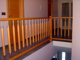 Indoor Banister Wooden Railing Stainless Steel With Bars Indoor E