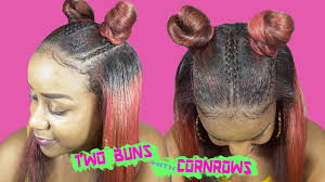 two ear hairstyle two buns with cornrows on straightened hair natural hairstyle
