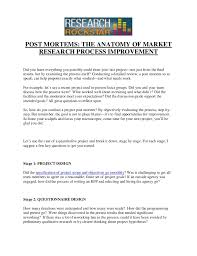 post mortems the anatomy of market research process improvement