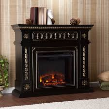 Black Electric Fireplace Duncan Electric Fireplace Black W Gold Accents Walmart