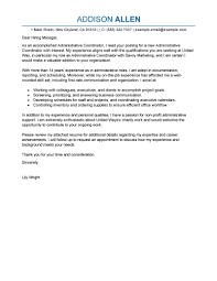 Non Job Specific Cover Letter by Leading Professional Administrative Coordinator Cover Letter
