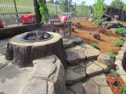 outdoor backyard fire pit with stoned and staired patio wayne