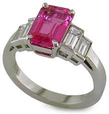pink gemstones rings images Emerald cut pink sapphire and diamond ring bijoux extraordinaire gif
