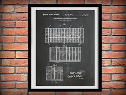 patent 1971 football field layout art print poster sports wall