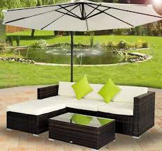 Outdoor Rattan Corner Sofa Outsunny 5 Pcs Rattan Furniture Sofa Set Brown Aosom Co Uk