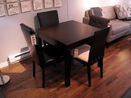 Black Leather Chairs And Dining Table Furniture Square Black Wooden Dining Table With Black Leather