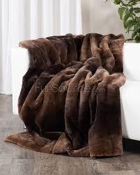 Faux Fur Throw Blanket Full Pelt Sheared Beaver Fur Blanket Fur Throw Brown