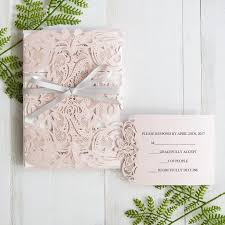 wedding invatations blush pink laser cut wedding invitation with gray band