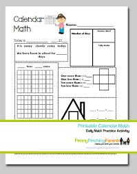 printables for kids daily calendar math worksheet printable
