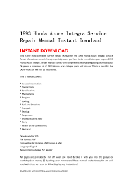 1993 honda acura integra service repair manual instant downlaod