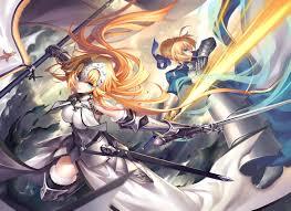 anime wallpapers girls sword fighting wallpaper illustration anime girls sword saber fighting fate