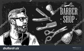 hipster shave haircut barbershop vector black stock vector