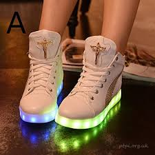 high top light up shoes fashion 7 colors led shoes high top growing shoes for women luminous