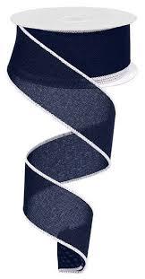 navy blue wired ribbon 1 5 x 10yd navy blue ribbon wired navy blue ribbon navy ribbon