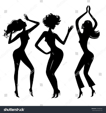 party silhouette dancing girls dance partysilhouette stock vector 423086992