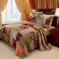 french country floral patchwork cotton quilt set luxury linens 4