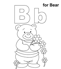 alphabet coloring pages b for bear alphabet coloring pages of