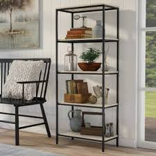 Iron And Wood Bookcase Industrial Bookcases Birch Lane