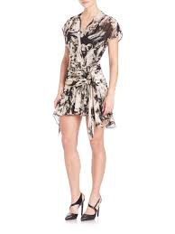 lion print roberto cavalli ruffled silk lion print wrap dress lyst
