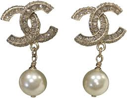 pearl dangle earrings chanel golden classic cc pearl dangle earrings tradesy