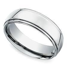 7mm ring beveled men s wedding ring in white gold 7mm