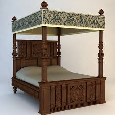 Vintage Canopy Bed Antique Canopy Bed 3d Model Buy Antique Canopy Bed 3d Model