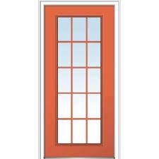 Steel Or Fiberglass Exterior Door 36 X 80 15 Lite Front Doors Exterior Doors The Home Depot