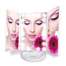 Cosmetic Mirror Lighted Makeup Mirror With Light Tri Fold Illuminated Cosmetic