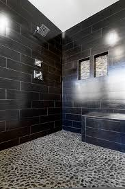 contemporary master bathroom with river rock tile by josh gubser