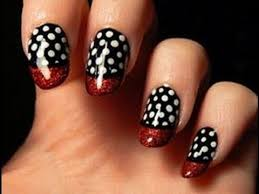 red black and white nail art diy easy for beginners very cute