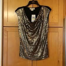 michael kors blouses 74 michael kors tops michael kors 1x gold sequin top blouse
