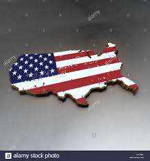 Usa Country Map by Usa Country Map 3d Render With Flag And Metal Background Stock