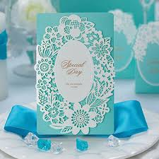 wedding invitations blue laser cut wedding invitations aqua blue paper card 50pcs lot free
