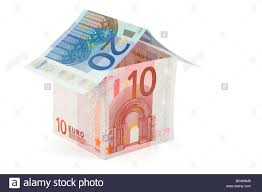 euro house house made of euro bills isolated on white stock photo royalty