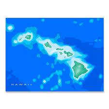 Ocean Maps Hawaii Map Print Hawaiian Islands Usa Ocean U2013 Maps As Art