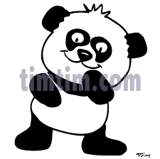 free drawing of panda kid bw from the category wild animals