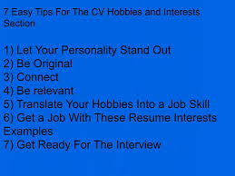 Interests For Resume Good Interest For Resume Virtren Com