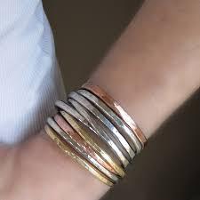 stacking bracelets sided personalized gold brass stacking bracelet