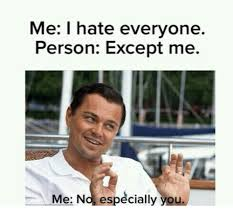 I Hate Everyone Meme - me i hate everyone person except me me no especially you meme on