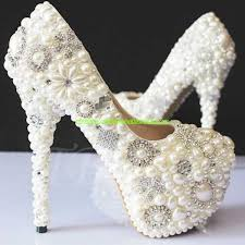 wedding shoes canada womens rhinestone pearls high heel wedding shoes beige canada