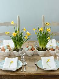 Table Decorations A Simple Tabletop With Miniature Daffodils In Latte Bowls