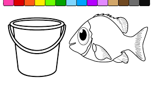 learn colors kids color fish beach bucket coloring